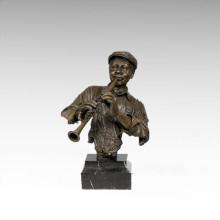 Бюсты Латунь Статуя Кларнета Человек Украшения Бронзовая Скульптура Т-483 (С)