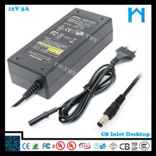100-240V AC 12V 3A 36W Universal Power Supply For TV - Desktop and Wall-mounted