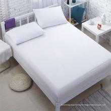 Hotel al por mayor Plain Hoja de cama blanca equipada hoja (WSFI-2016003)