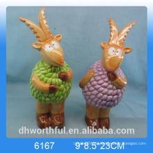 Artesanía de animales de cerámica de decoración al por mayor en forma de cabra