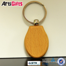 Wholesale brass maple round wood keychain