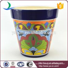 YSfp0007-03 Impression à la main en forme ronde Pot de fleurs 12 pouces pour jardin