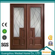 Puerta corredera clásica con panel de vidrio