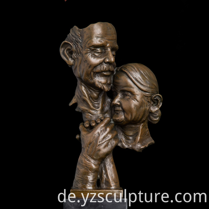 Couple bronze bust