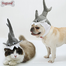 Shark Design Hund Katze Welpen Hut Halloween Cosplay Kappe Mähne Pet Kostüm