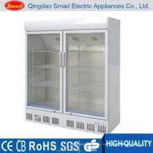 double glass door supermarket refrigerator display cooler