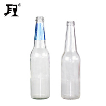 wholesale 330ml empty clear recycled glass beer bottle with crown cap