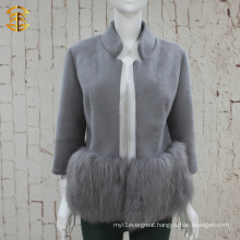 Brand Design Elegant Lady Genuine Fox Fur And Wool Coat