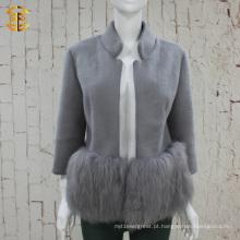 Brand Design Elegant Lady Genuine Fox Fur And Wool Coat