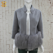 Бренд-дизайн Элегантная леди Подлинная фок-шерсть и шерстяное пальто