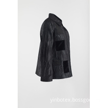 Light Black casual patched coat in wrinkle jacket