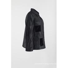 Manteau noir décontracté et patché en veste froissée