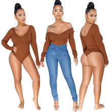 C3696  Fashion hot sale lady bodysuit women jumpsuit and rompers sexy woman solid color v neck  2019 fall clothing