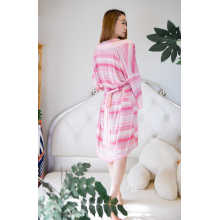 Pink stripe viscose nightdress short top for women