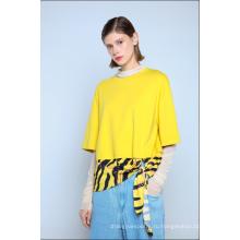 Дамы комбинированные футболка с узлом зебры