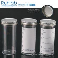 Conteneurs d'échantillons de 150 ml enregistrés et approuvés par la FDA avec bouchon en métal
