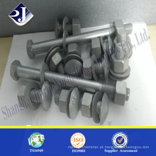 Parafusos de trilhos zincados HDG M20 * 50 pernos de trilho de guarda barreiras de estrada