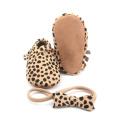 Handmade Bowknot Headband Leopard Baby Moccasins