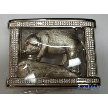 Belt Buckle-Chinese Zodiac Pig- Sterling Silver Micro Pave CZ
