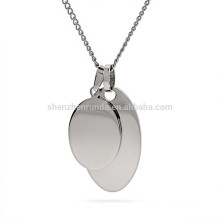 Wholesale Summer Customized Oval Pendant Stainless Steel Blank Double Pendants Necklace Jewelry
