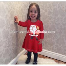 Atacado Moda Cor Vermelha Manga Comprida Família Combinando Roupas Mulheres Vestido De Papai Noel Impressão Inverno Meninas De Natal Vestido