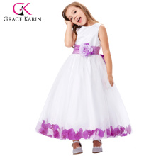 Grace Karin Plum White Sleeveless Flower Decorated Flower Baby Girl Princess Party Dress 2~12 Years CL008936-3