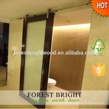 Diseño moderno laminado puerta corrediza de vidrio baño Hotel