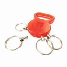 Plastic colors bottle opener key chain with several metal rings