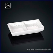 2015 nice design porcelain rectangle compartment saucer dish wasabi&soy saucer dish