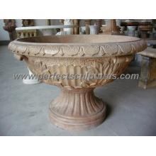 Stein Marmor Blume Pflanzer für Garten Dekoration (QFP096)