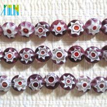 cuentas de vidrio florales con incrustaciones de estilo murano, cuentas redondas de millefiori planas