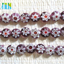murano style inlaid floral glass beads flat round millefiori beads