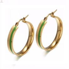 Pendientes de aro baratos de la mejor calidad con piedra verde en oro