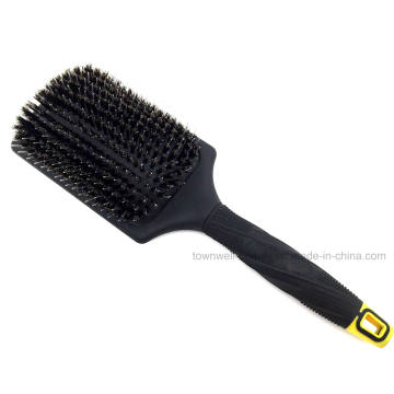 Square Boar Bristles Nylon Plastic Hair Brush for Thick Hair