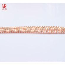 4-5mm rosa Süßwasserperlenstrang, Knopfrund (ES124)