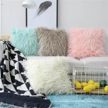 """2019 hot sale 18""""x18"""" mongolian faux fur throw pillow"""