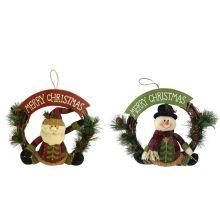 Christmas 3D santa and snowman shape wreath