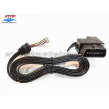 Right angle OBD2 connector with flat cable