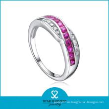 Whlolesale Ruby 925 anillo de plata esterlina con diseño personalizado (R-0086)