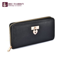 HEC Hot Selling Custom PU Material Black Wallet For Women