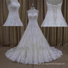 Real Sample beliebtesten Design Spitze Sleeveless Brautkleid