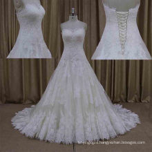 Real Sample Most Popular Design Lace Sleeveless Bridal Gown