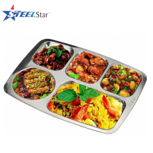 Factory price combination type stainless steel rectangular tray with compartment