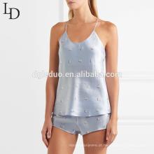 Camisola de alças de moda verão e pijama curto mulheres conjunto sexy pijama de cetim