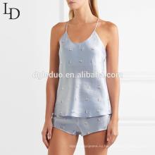 Мода лето холтер майка и короткие женщин пижамы набор сексуальная атласная пижамы