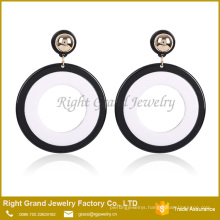 Acrylic Resin Drop Earrings Black White Plain Round Circle Earrings
