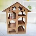 Cardboard Cat Playhouse para juguetes de gatos