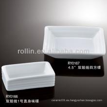 Plato de cerámica, plato cuadrado, plato rectangular para el hotel