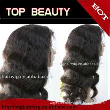 100% cheveux humains brésiliens longues perruques ondulées drop shipping