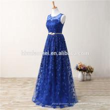 Vestido de noche más grande bordado piso-longitud Royal Blue Traditional Women Mixi Plus Size